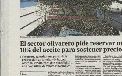 """ABC: """"El sector olivarero pide reservar un 10% del aceite para sostener el precio"""""""