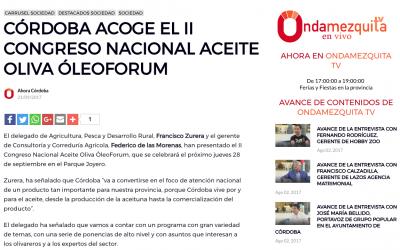 """Diario Ahora Córdoba: """"Córdoba acoge el II Congreso Nacional del Aceite de Oliva"""""""