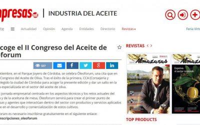 """Interempresas: """"Córdoba acoge el II Congreso del Aceite de Oliva Óleoforum"""""""