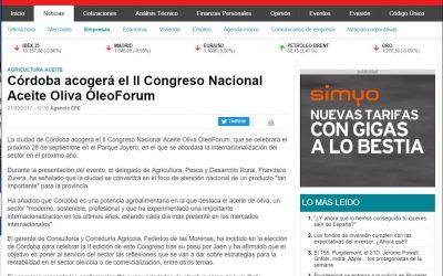 """Diario Finanzas: """"Córdoba acogerá el II Congreso Nacional Aceite Oliva ÓleoForum"""""""
