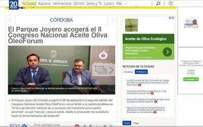 """20minutos: """"El Parque Joyero acogerá el II Congreso Nacional del Aceite Oliva ÓleoForum"""""""