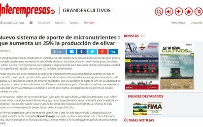 """Interempresas: """"Nuevo sistema de aporte de micronutrientes que aumenta un 25% la producción de olivar"""""""