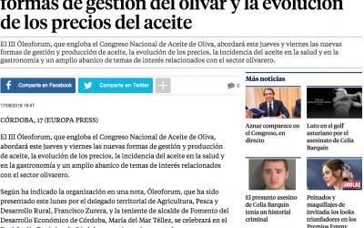 La Vanguardia: «El III Óleoforum abordará las nuevas formas de gestión del olivar y la evolución de los precios del aceite»