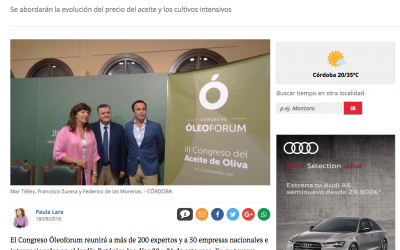 Diario Córdoba: «Óleoforum reúne a 200 expertos y a 50 empresas en el Botánico»
