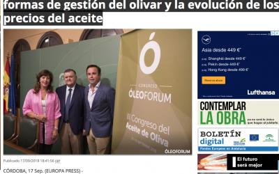 """Europa Press:""""El III Óleoforum abordará en Córdoba las nuevas formas de gestión del olivar y la evolución de los precios del aceite"""""""