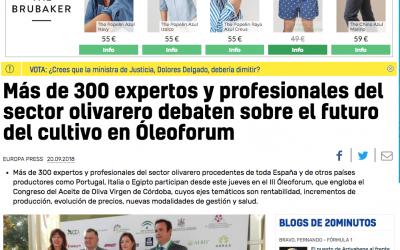 """20 Minutos: """"Más de 300 expertos y profesionales del sector olivarero debaten sobre el futuro del cultivo en Óleoforum"""""""