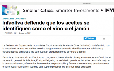 """Finanzas: """"Infaoliva defiende que los aceites se identifiquen como el vino o el jamón"""""""